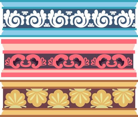 elaborate: Border Illustration of Cornices with Elaborate Designs