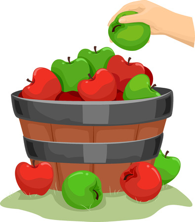 horticulture: Background Illustration of a Wooden Barrel Filled with Apples Stock Photo