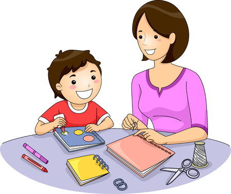 bookbinding: Illustration of a Mother and Her Son Making a Book Stock Photo