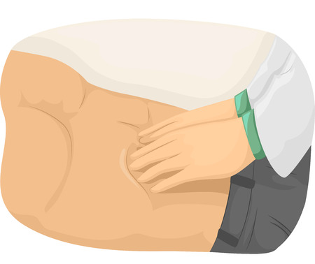abdomen: Cropped Illustration of a Doctor Checking the Abdomen of a Patient