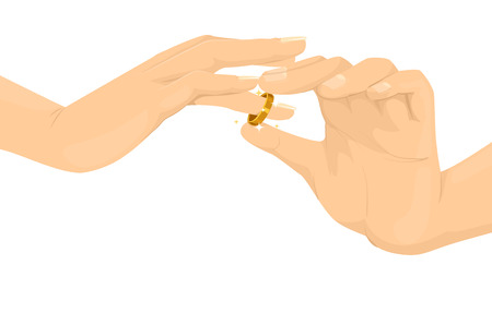 ring finger: Cropped Illustration of a Person Inserting a Wedding Ring to the Finger of Another