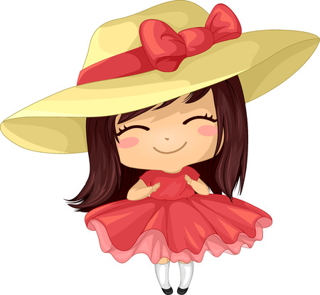 dress: Illustration of a Girl in a Frilly Dress Wearing a Large Hat Stock Photo
