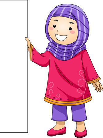 headscarf: Illustration of a Little Muslim Girl Holding a Blank Board