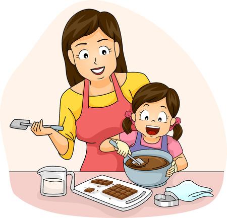 ni�os cocinando: Ilustraci�n de una madre ense�a a su hija c�mo hacer Chocolates Foto de archivo