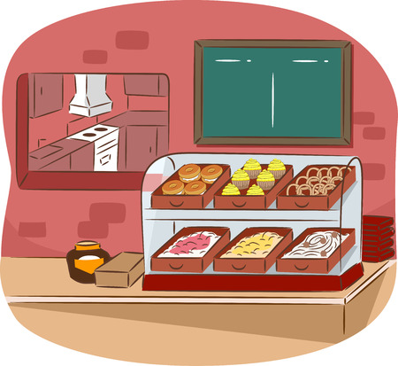 Illustration Featuring the Counter of a Cafeteria Reklamní fotografie