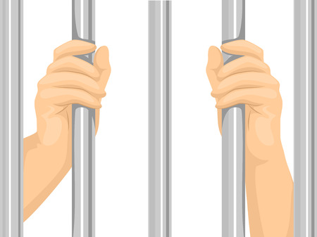 convicted: Cropped Illustration of a Person Locked Behind Bars Stock Photo