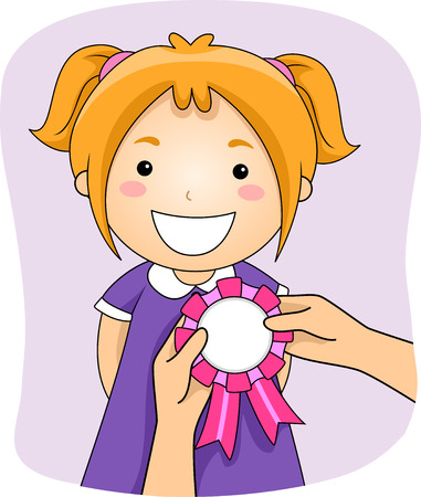 schooler: Illustration of a Girl with a Ribbon Being Pinned on Her Stock Photo