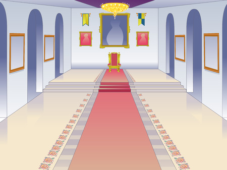 castle interior: Illustration Featuring the Throne Room of a Castle Stock Photo