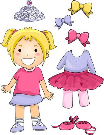 ragazze che ballano: Illustrazione di un piccolo ballerino in piedi accanto a diversi elementi Ballet