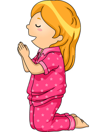 Illustration of a Girl in Pajamas Praying Before Going to Sleep