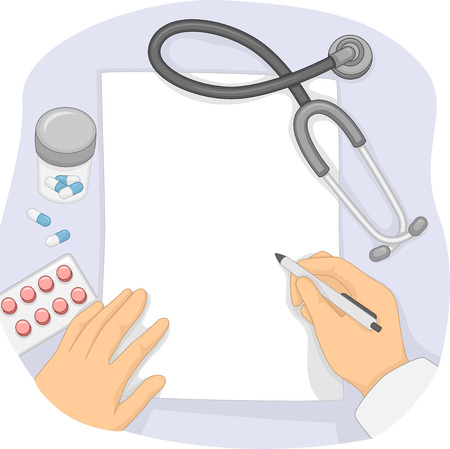 prescription: Illustration of a Doctor Writing Notes on a Prescription Pad