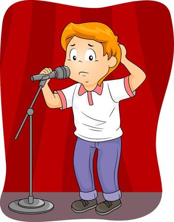 escuela caricatura: Ilustración de un niño ansioso de pie detrás de un micrófono Foto de archivo