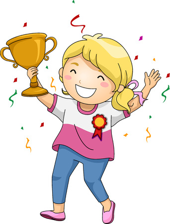 child girl: Illustration of an Overjoyed Girl Celebrating Her Victory While Holding Her Trophy