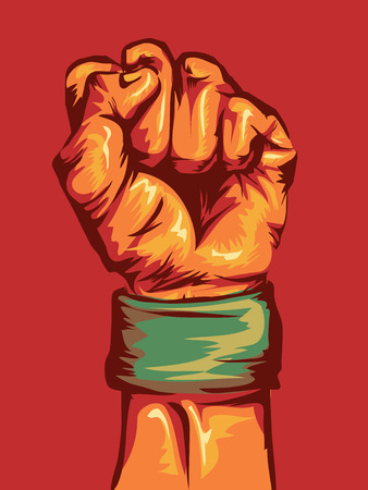 conviction: Cropped Illustration of a Fist Wearing a Wristband Clenched Tight Stock Photo