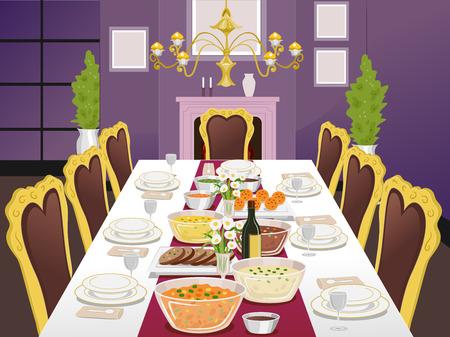 Illustratie van een Formele Eettafel Gevuld met voedsel