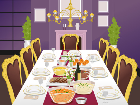 dining room: Illustration of a Formal Dining Table Filled with Food