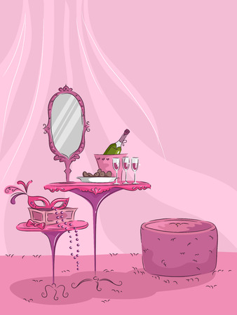 dressing table: Illustration of a Pink Room with a Stylish Dressing Table at the Center