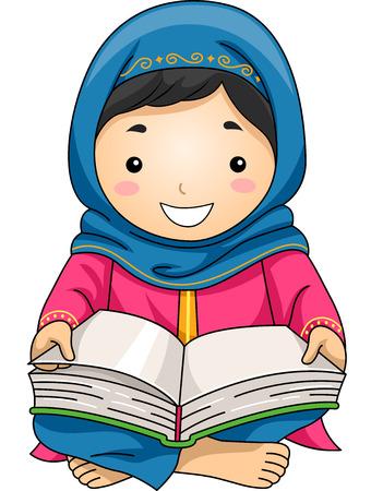 niños leyendo: Ilustración de una niña musulmana poco de lectura del Corán