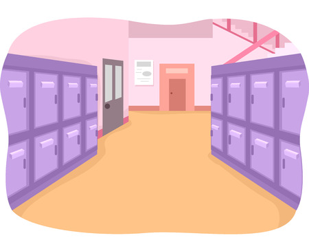 high school: Illustration of an Empty School Hallway Painted in Bright Colors Stock Photo