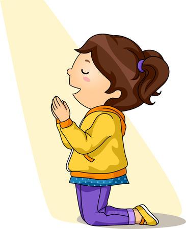 orando: Ilustración de una Rodillas Niña Mientras Orar