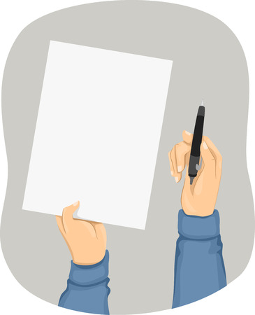 hand holding paper: Cropped Illustration of a Person Holding a Piece of Paper in One Hand and a Pen in the Other