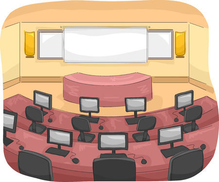 assigned: Illustration of a Multimedia Room with Individual Computers Assigned to Each Seat Stock Photo