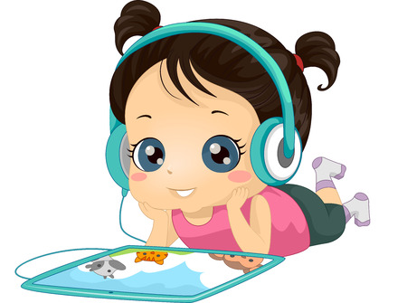 children story: Illustration of a Little Girl Listening to an Audio Book with Her Tablet Computer