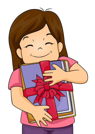 children art: Illustration of a Happy Girl Hugging Her Present
