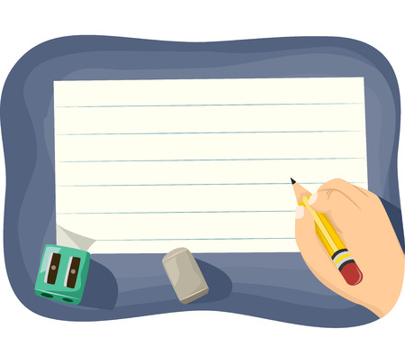 grade schooler: Cropped Illustration of a Kid Writing on Ruled Paper Stock Photo