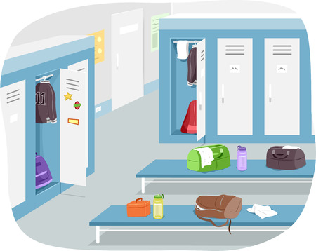 Illustration of a Male Locker Room with Sports Gear Strewn Around