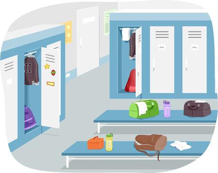 sports gear: Illustration of a Male Locker Room with Sports Gear Strewn Around