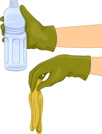 ones: Illustration of People Separating Biodegradable Trash from Non Biodegradable Ones