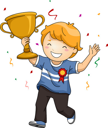 Illustration of an Overjoyed Boy Celebrating His Victory While Waving His Trophy Stock Photo