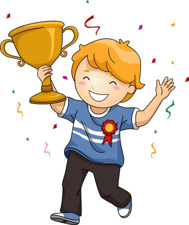 trofeo: Ilustración de un niño: D celebrando su victoria mientras agitaba su trofeo Foto de archivo