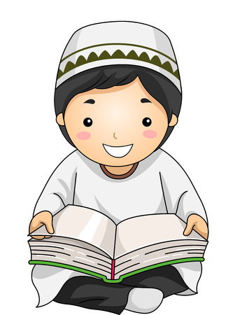 Illustration of a Little Muslim Boy Reading the Quran Stock Photo