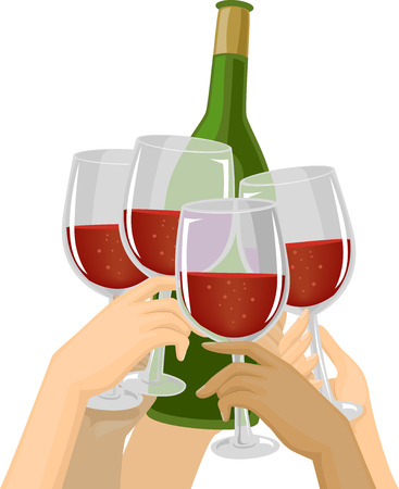 clinking: Cropped Illustration of Hands Clinking Their Glasses Against a Bottle of Wine