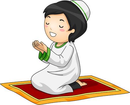 kids artwork: Illustration of a Little Muslim Boy Kneeling in Prayer