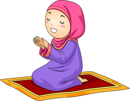 orando: Ilustración de una niña Rodillas Poco musulmana en una alfombra mientras rezaba