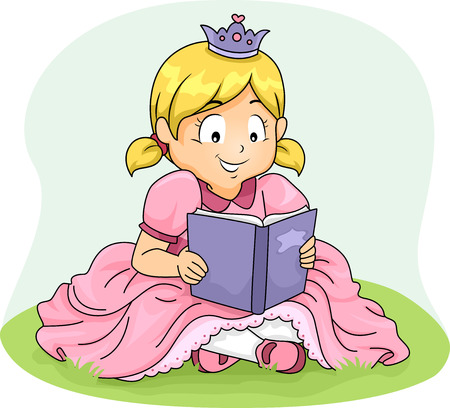 children art: Illustration of a Girl Wearing a Princess Costume Reading a Book Stock Photo
