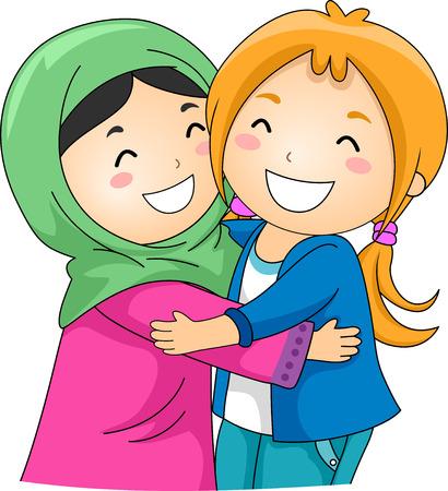 amigos abrazandose: Ilustración de un musulmán y un linfoma Non musulmana abrazándose unos a otros