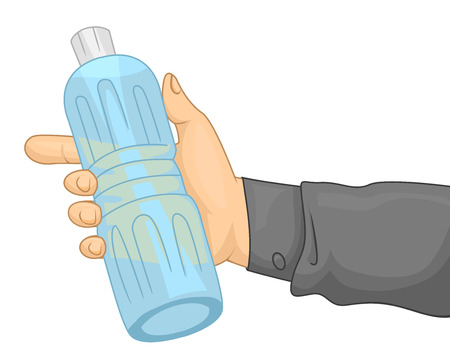 water bottles: Cropped Illustration of a Person Holding Bottled Water Stock Photo
