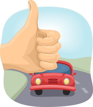 cropped: Cropped Illustration of a Person Doing the Hitchhiking Sign Stock Photo