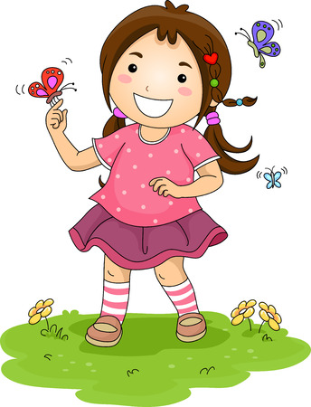 cartoon kids: Illustration of a Little Girl Playing with Colorful Butterflies Stock Photo