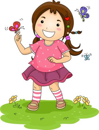 Ilustración de una niña jugando con las mariposas de colores
