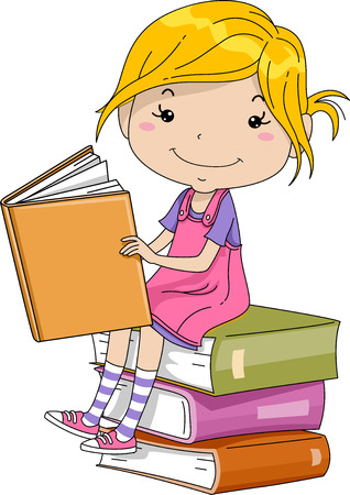 schooler: Illustration of a Little Girl Sitting on a Pile of Thick Books
