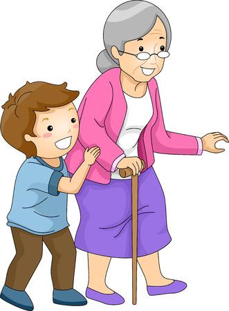 Illustration d'un petit garçon Aider une femme de la Croix de la rue Banque d'images - 41685733