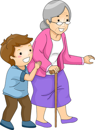 damas antiguas: Ilustraci�n de un Little Boy ayudan a una mujer de la Cruz Vieja de la calle Foto de archivo