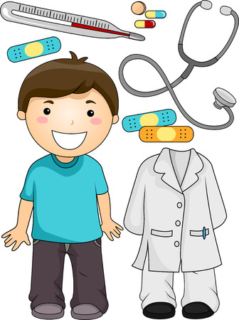 associated: Illustration of a Little Boy Standing Beside Items Associated with Doctors Stock Photo