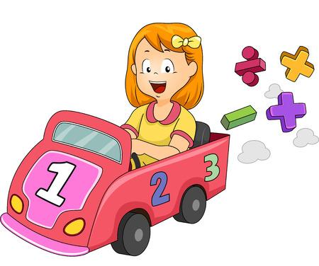 Ilustración de una niña que conducen un coche de juguete Diseñado con números y símbolos matemáticos Foto de archivo