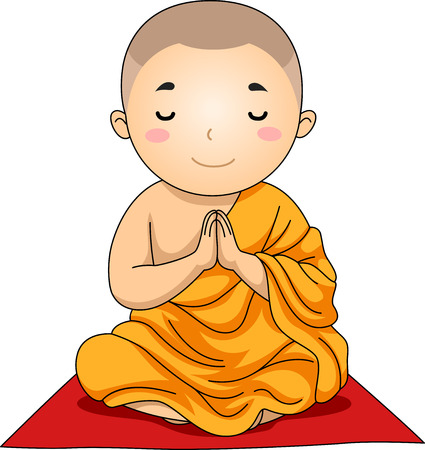 Illustration of a Little Buddhist Boy with His Hands Clutched in Prayer